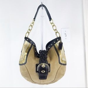 Coach Soho Studded Suede & Leather Buckle Hobo Bag
